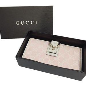 Gucci pink monogram Abbey long wallet